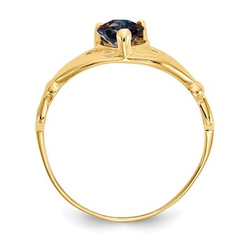 14k CZ June Birthstone Claddagh Heart Ring