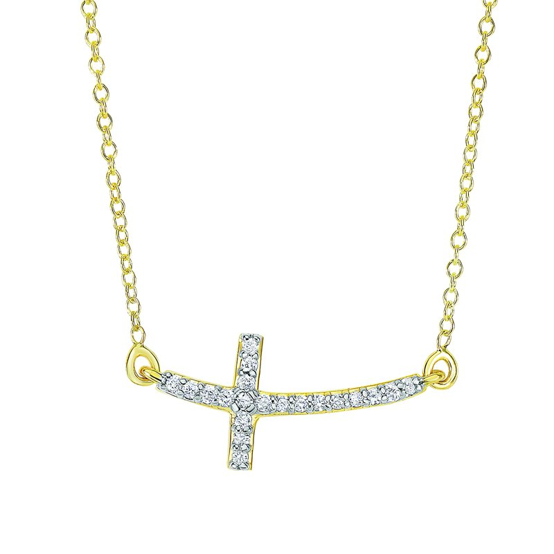 Royal Chain 14K Gold .12ct Diamond Side Cross Necklace