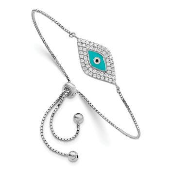 Sterling Silver Rhodium-plated CZ Blue Enamel Eye Adjustable Bracelet