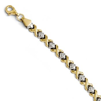 Leslie's 10K Yellow Gold with Rhodium Diamond-cut Bracelet
