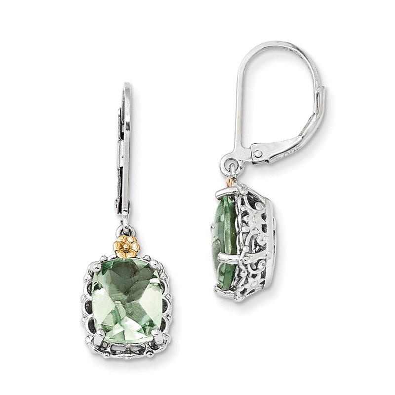Shey Couture Sterling Silver with 14k Green Quartz Earrings One Size