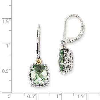Sterling Silver w/14k Green Quartz Earrings