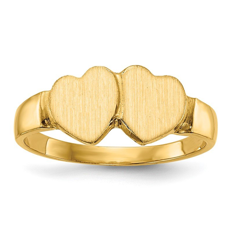Quality Gold 14k 7.0x7.0mm Closed Back Heart Signet Ring