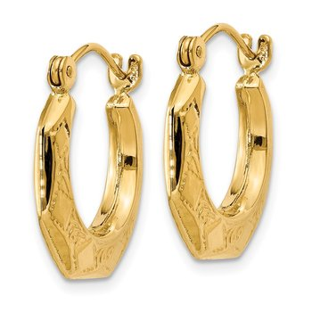 14k Polished Patterned Hoop Earrings