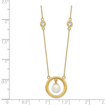 14k CZ &FWC Pearl Dangle Necklace