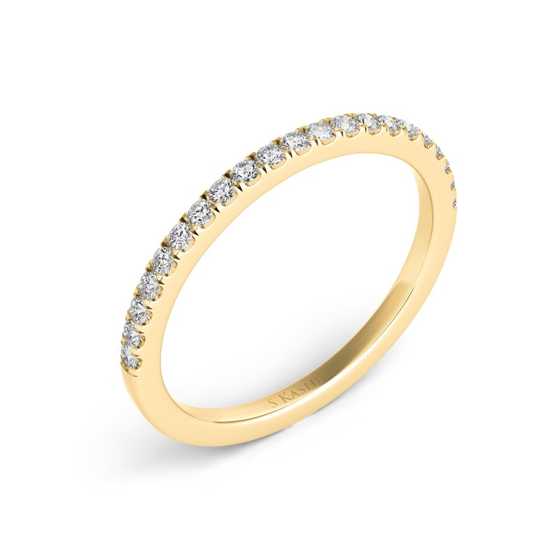 S. Kashi & Sons Bridal Yellow Gold Pave Matching Band