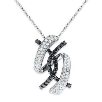 Black And White Diamond Necklace in 14k White Gold with 80 Diamonds weighing .55ct tw.