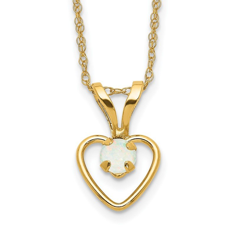 Quality Gold 14k Madi K 3mm Opal Heart Necklace