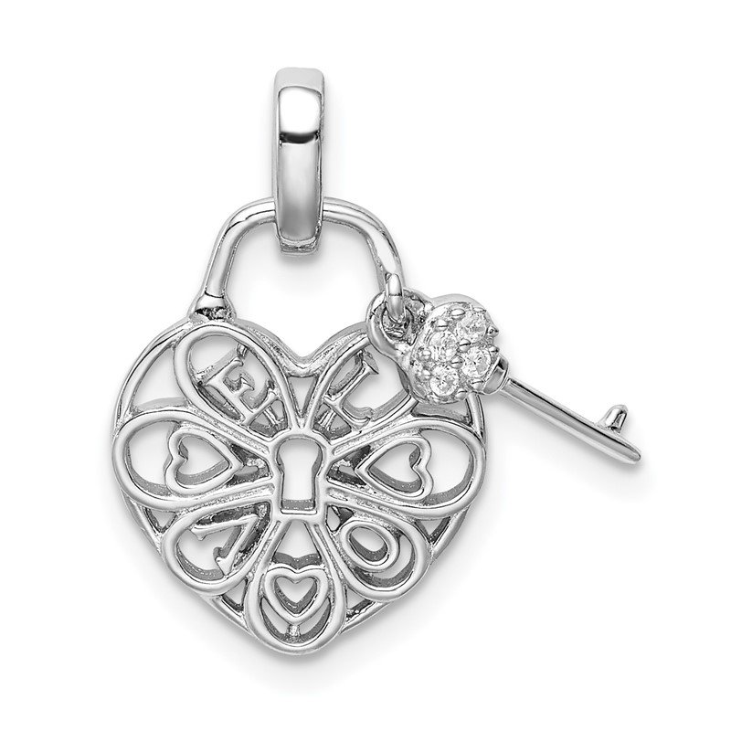 Quality Gold Sterling Silver Rhodium-plated Heart Lock & Key w/CZ Pendant