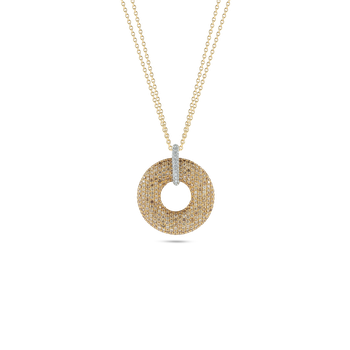 18KT GOLD ROUND PENDANT WITH DIAMONDS
