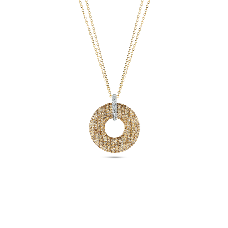 Roberto Coin 18Kt Gold Round Pendant With Diamonds