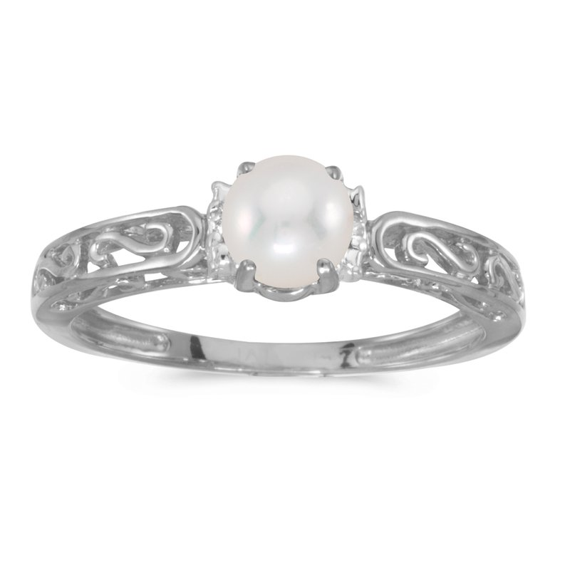 Color Merchants 14k White Gold Freshwater Cultured Pearl And Diamond Ring