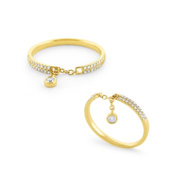 Pavé Diamond Band With Bezel Set Diamond Dangle Set in 14 Kt. Gold