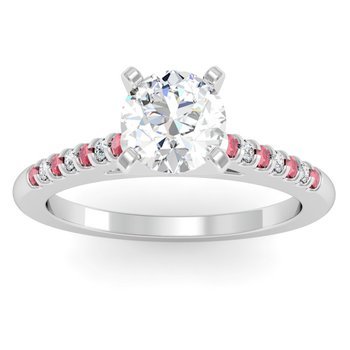 Cathedral Channel set Ruby & Diamond Engagement Ring