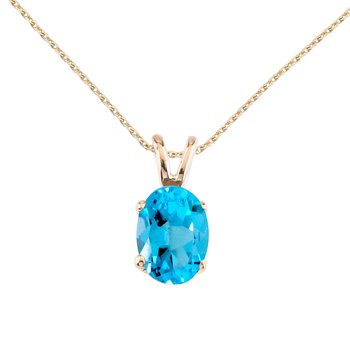 14k Yellow Gold Oval Large 6x8 mm Blue Topaz Pendant