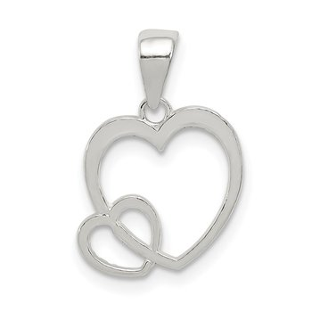 Sterling Silver Polished Hearts Pendant