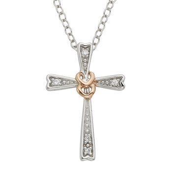 Rose-plated Sterling Silver Diamond Accent Cross Pendant