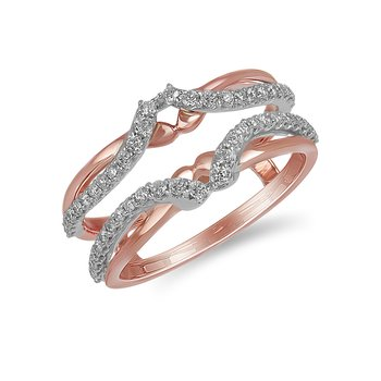 14K WR and diamond engagement ring Insert in prong setting