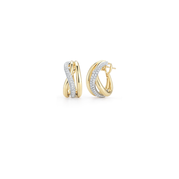 18Kt Gold Cross Over Earring With Diamonds