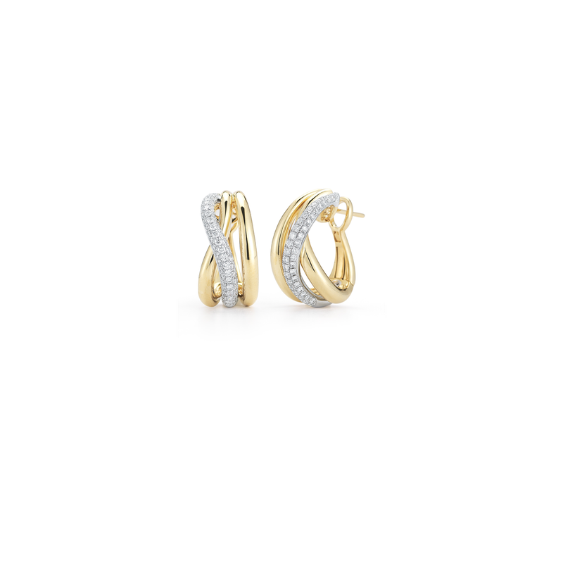 Roberto Coin 18Kt Gold Cross Over Earring With Diamonds