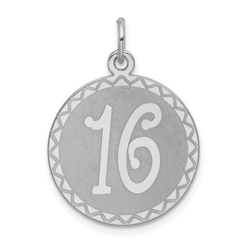 Sterling Silver Rhodium-plated Sweet Sixteen Disc Charm