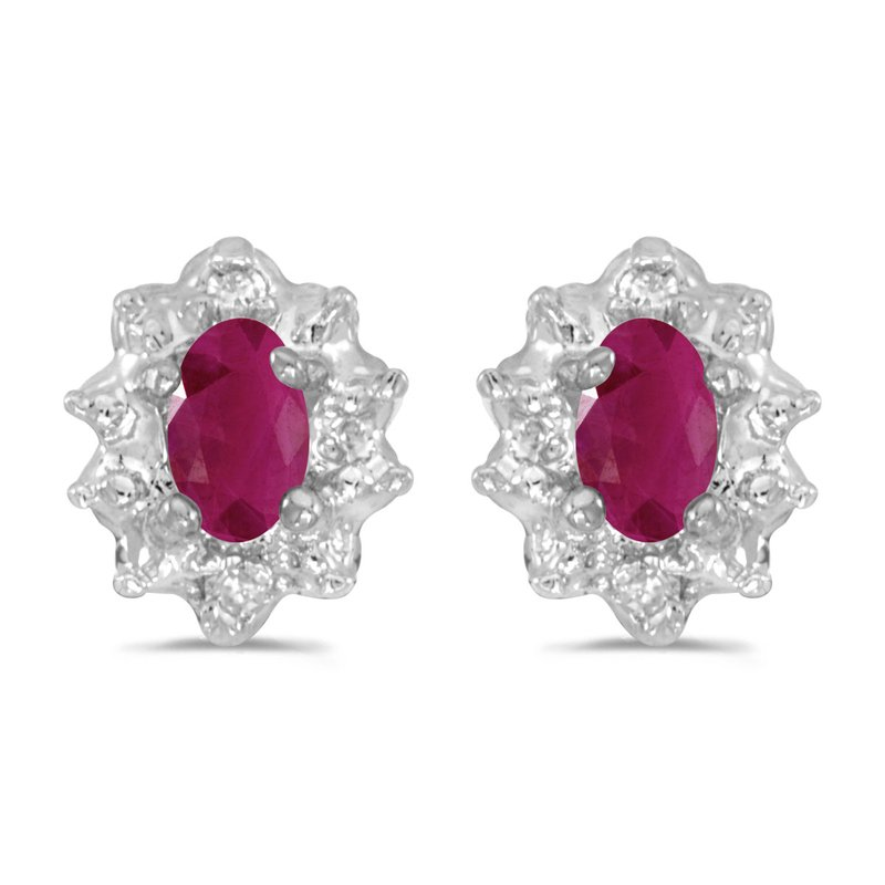 Color Merchants 10k White Gold 5x3 mm Genuine Ruby And Diamond Earrings