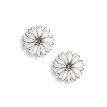 White African Daisy Stud Earrings.Sterling Silver