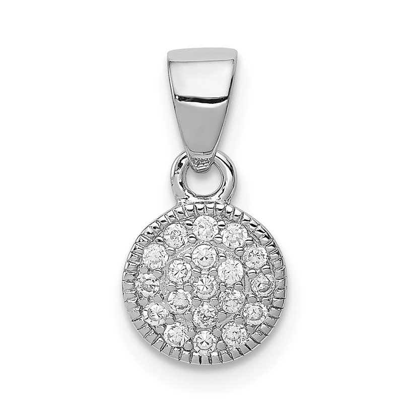 Quality Gold Sterling Silver Rhodium-plated CZ Circle Pendant