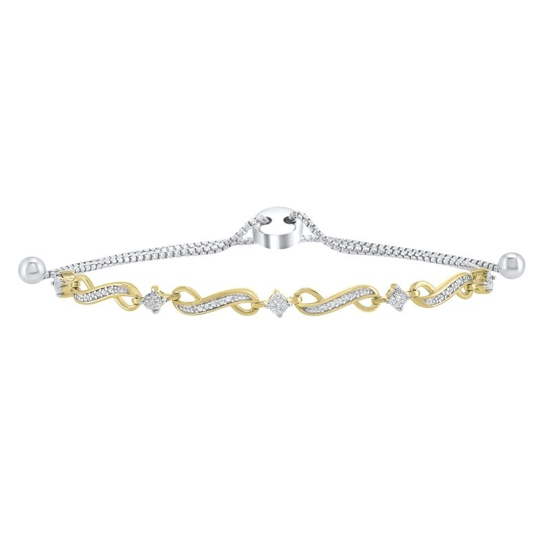 Gems One Infinity Bolo Diamond Bracelet in Two-Tone Sterling Silver (1/8 ct. tw.)