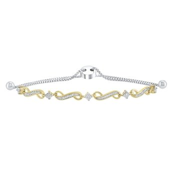 Infinity Bolo Diamond Bracelet in Two-Tone Sterling Silver (1/8 ct. tw.)