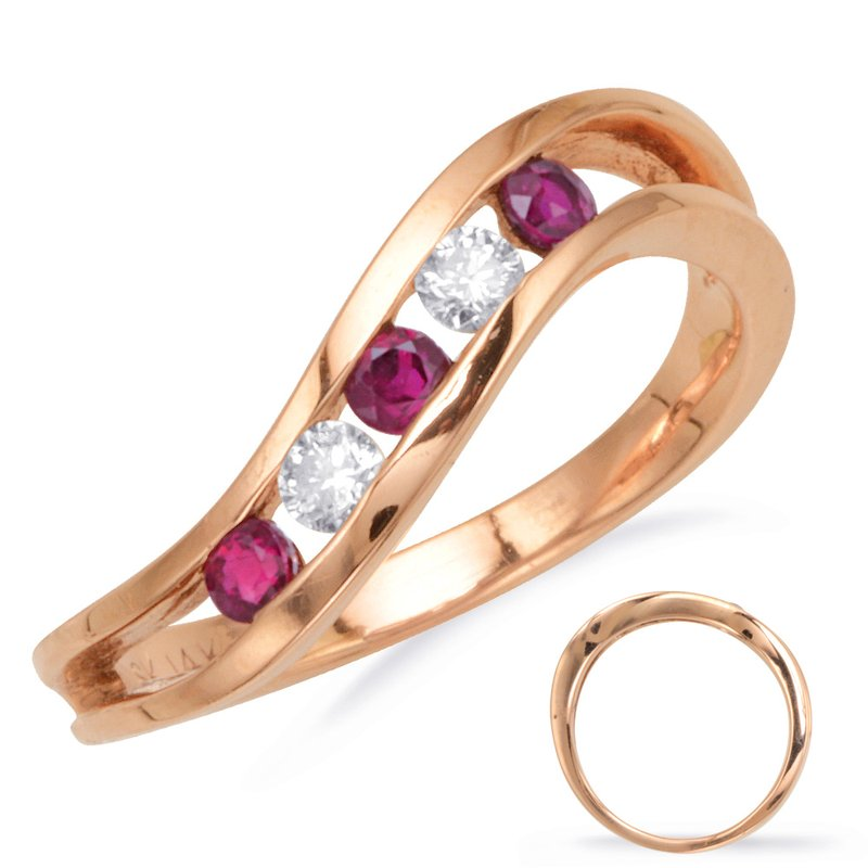 S. Kashi  & Sons Ruby & Diamond Channel Set Band