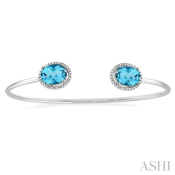 oval shape silver gemstone & diamond bangle