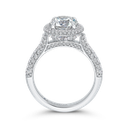 18K White Gold Round Diamond Double Halo Engagement Ring (Semi-Mount)