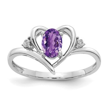 14k White Gold Amethyst and Diamond Heart Ring