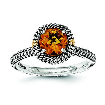 Sterling Silver w/14k Round Citrine Ring