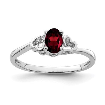 Sterling Silver Rhodium-plated Garnet Ring
