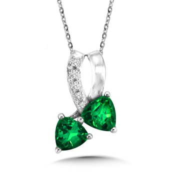 Trillion-Cut  Created Emerald and Diamond Pendant