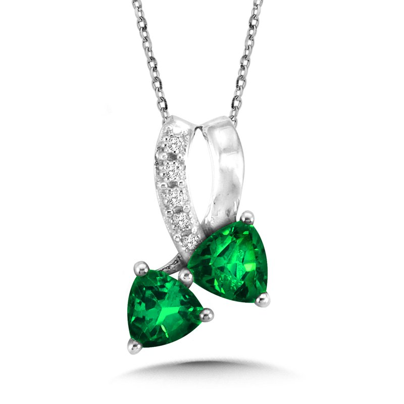 SDC Creations Trillion-Cut  Created Emerald and Diamond Pendant