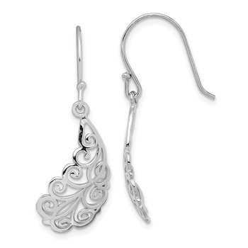 Sterling Silver Rhodium-plated Filigree Leaf Dangle Earrings