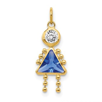 14k September Girl Birthstone Charm