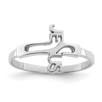 Sterling Silver Rhodium-plated Jesus Cross Ring