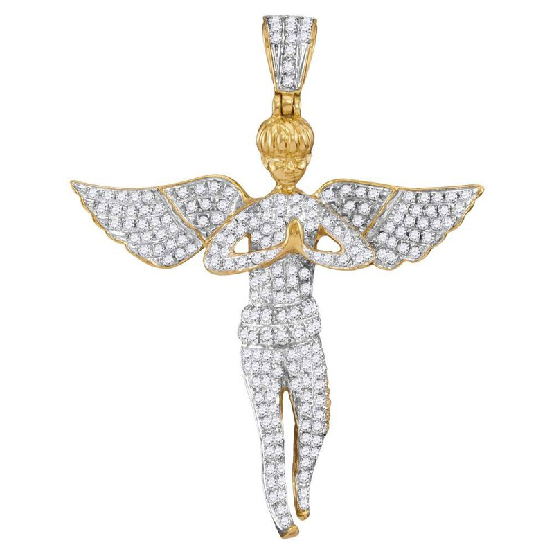 Kingdom Treasures 10kt Yellow Gold Mens Round Diamond Angel Wings Cherub Charm Pendant 1.00 Cttw