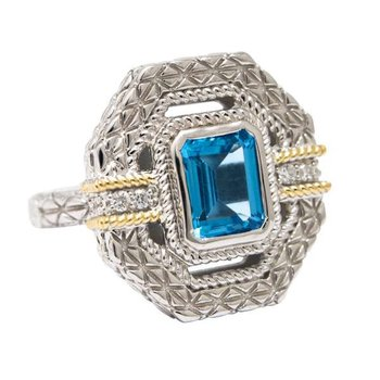 18KT AND STERLING SILVER BLUE TOPAZ & DIAMOND RING