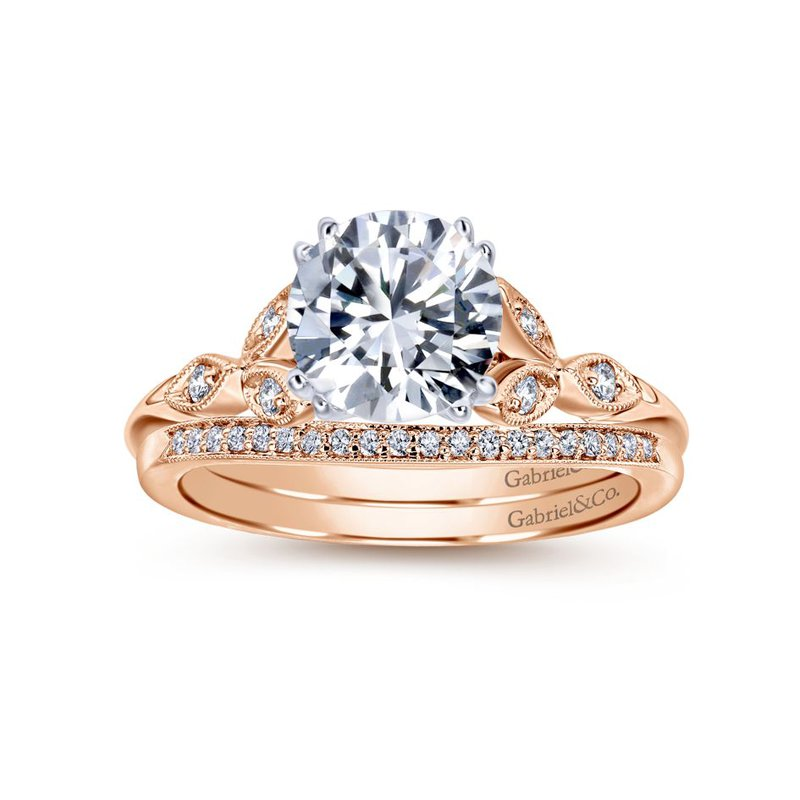 Gabriel Bridal 14K White-Rose Gold Round Diamond Engagement Ring