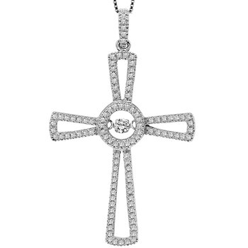 Silver Diamond Rhythm Of Love Cross Pendant 1/6 ctw