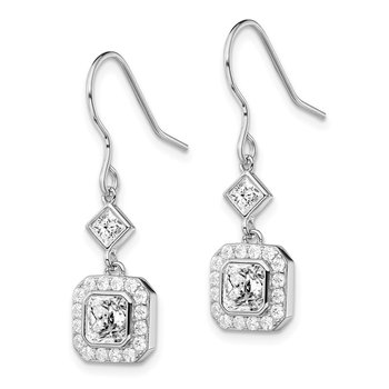 Sterling Silver Rhodium-plated CZ Square Halo Dangle Earrings