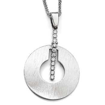 Leslie's Sterling Silver Scratch-finish CZ Pendant