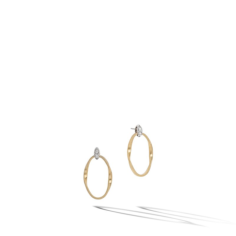 Marco Bicego Marrakech Onde Yellow Gold and Diamond Link Stud