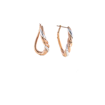 18Kt Gold Twisted Oval Hoops