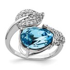 Quality Gold Sterling Silver RH-plated Clear/Blue Crystal Flower Adjustable Ring